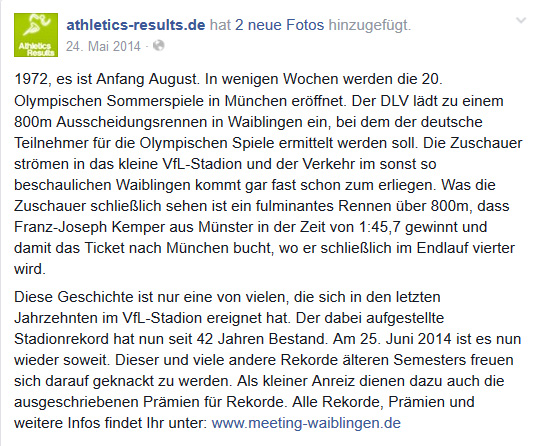 Bericht Athletic Results 2014